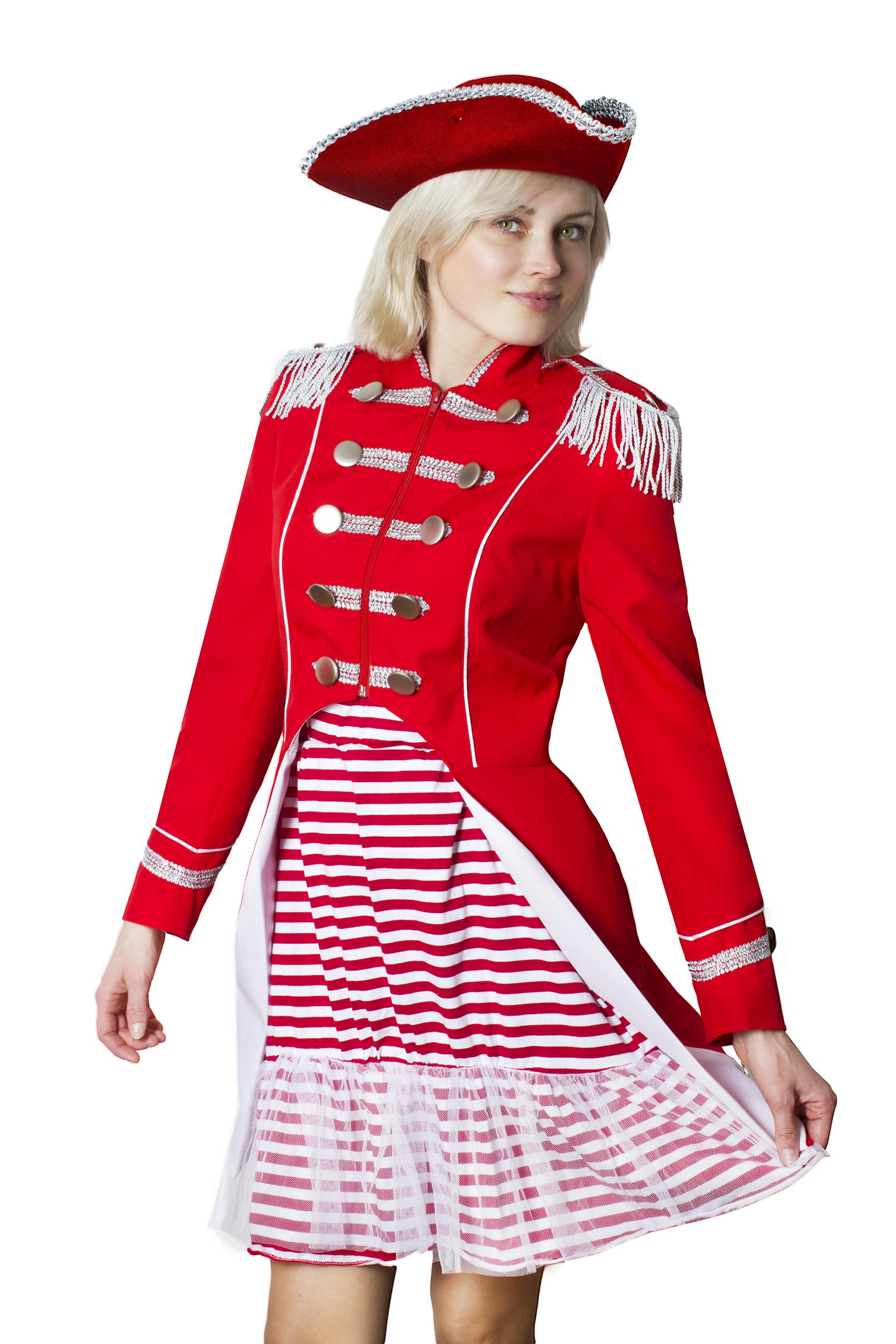 Uniform Fasching Soldat Napoleon Jacke Karnevalskostüm Gehrock Weiss Rot New